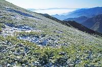 長野県 新雪の爺ケ岳よりの山並み