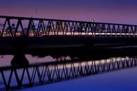 千葉県 スカイツリーと京成線江戸川鉄橋の夜景
