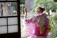 金魚を見る浴衣の若い女性