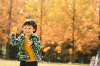 紅葉の公園で遊ぶ日本人の子供