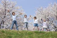 満開の桜の下で手を繋ぐ子供たち