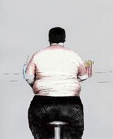 イラスト ジャンクフードを食べる肥満男性