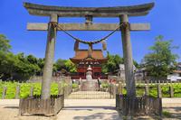 愛知県 伊賀八幡宮の石鳥居と神橋と随身門