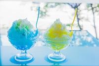 かき氷 ブルーハワイとレモン