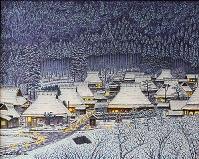 茅葺の里雪景色
