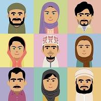 中東人男女の集合イラスト