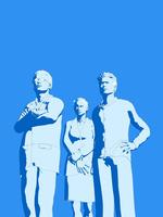 青色のビジネス男女