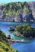 静岡県 奥石廊崎 ヒリゾ浜に接岸する渡し船