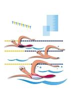 水泳をする男女