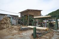 秩父の林業 - 製材所・丸太の皮を剥く作業