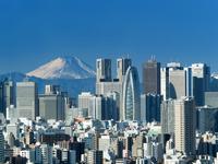 東京都 新宿高層ビル街と富士山