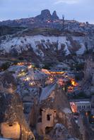 トルコ 中央アナトリア カッパドキア村の夕暮れ