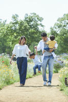 花畑と散歩する家族
