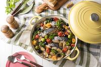 鰆と春野菜のアクアパッツァ