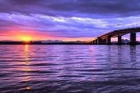 滋賀県 琵琶湖大橋 日の出