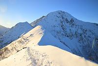 山梨県 北岳登山道ボーコン沢の頭付近から望む雪の北岳