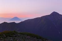 南アルプス小仙丈ヶ岳より望む夜明けの富士山と北岳