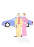 老夫婦と車