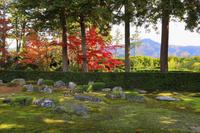京都府 圓通寺 書院から見る紅葉の借景式庭園と比叡山