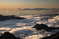 北アルプス 大喰岳より富士山と南アルプスを遠望