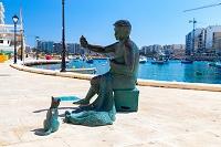 マルタ 漁師と猫のオブジェ