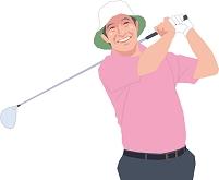 ゴルフをするアクティブシニアの男性