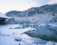 京都府 嵐山 雪の天龍寺 曹源池(朝)