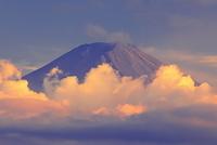 山梨県 夏雲と富士山の夕暮れ