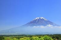 静岡県 朝霧高原から見る残雪の富士山