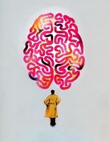 巨大な脳を見上げる男性 イラスト