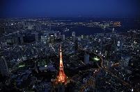 東京都 夜の東京タワーより東京湾,お台場方面