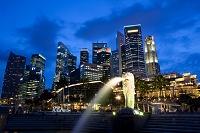 シンガポール マーライオンパークの夜景