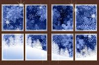 窓枠と冬の森 イラスト