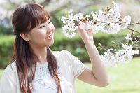 桜を見ている日本人女性