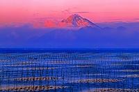 冠雪の普賢岳と有明海の海苔ひび
