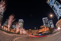 東京都 東京駅と高層ビルの夜景