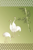 竹に立ち鶴