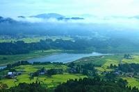 新潟県 小千谷市 信濃川と朝もやの田園
