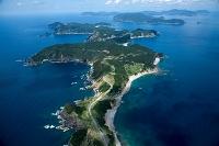 甑島列島 下甑島浮水山付近より中甑島 上甑島の島々方面