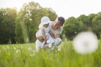 草地の親子