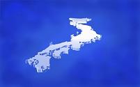 アクリル調の日本地図