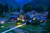 富山県 南砺市 五箇山・相倉合掌造り集落の夕暮れ