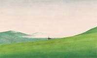 モンゴル・霧に包まれた草原