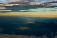 山梨県 富士山八合目から見た光差す小田原市街地