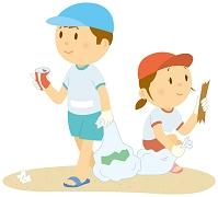 浜辺のゴミ拾いをする男の子と女の子