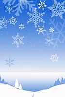 雪景色と雪の結晶 CG