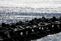 茨城県 光る海と黒い波けしブロック