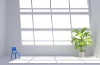 青い椅子と観葉植物が置かれた白い部屋 CG