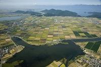 大岡川より大中の湖干拓地と西の湖、琵琶湖