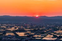 富山県 閑乗寺公園から見た散居村 夕景